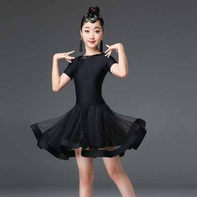 wholesale Girls ballroom latin dancing dresses black white competition stag performance rumba salsa chacha dance skirts dress