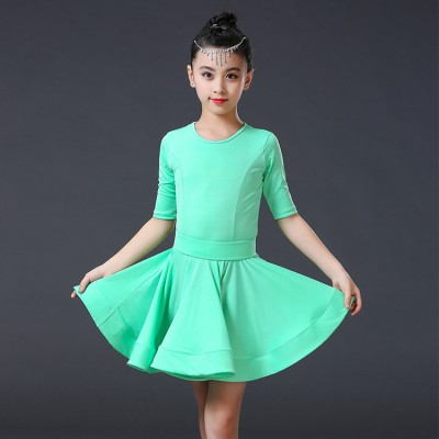 wholesale Girls ballroom latin dresses mint red black kids children competition stage performance latin dance ballroom dancing dress