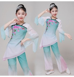 Wholesale girls chinese folk dance costumes kids ancient traditional yangko fan classical fairy dance dresses