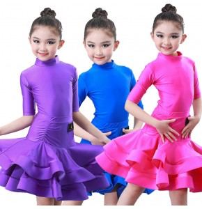 wholesale Girls competition latin dance dresses children training gymnastics stage performance dance skirts costumes dress