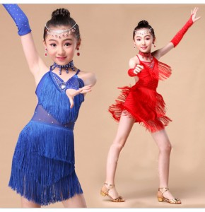 wholesale Girls competition stage performance latin dance dress salsa chacha rumba dance skirts costumes dress