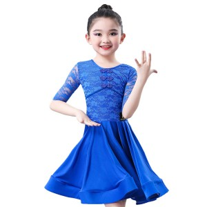 wholesale Girls competiton latin dance dresses lace kids children modern dance stage performance latin training skirts dress