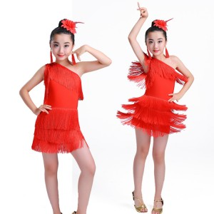 wholesale Girls latin dance dresses kids children tassels stage performance salsa rumba chacha dance costumes dress