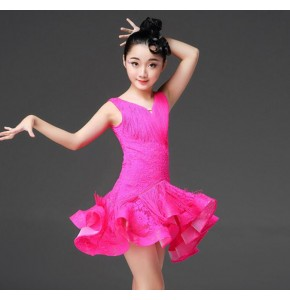Wholesale Girls latin dresses pink blue white lace tassels latin dress for kids  rumba chacha salsa rumba dance skirts costumes dress