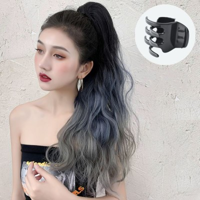 Wig wavy ponytail for women girls photos shooting stage performance curly hair big wave gradient grab clip fashion natural long hair high ponytail