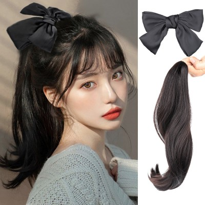 Wig women photos shooting curly hair extension bowknot long hair wig ponytail braid clip-on ponytail wig female wig braid