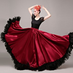 Wine flamenco skirts women girls stage performance opening dance ballroom skirt Spanish folk bull dance swing skirts