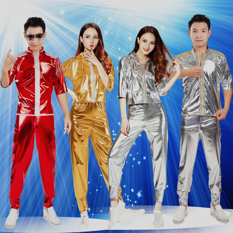 Women and men jazz dancing costumes gold silver red street modern dance singer performance night club punk rock dancing tops and pants