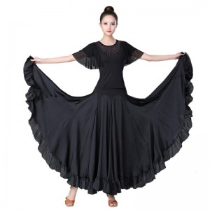 Women black royal blue ballroom dance dresses Ballroom dance long skirt performance clothes waltz big swing skirt performance clothes