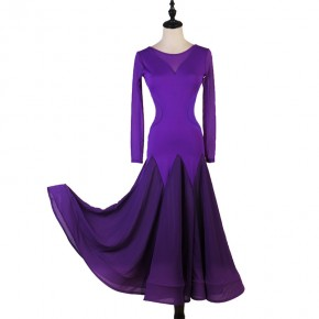 Women gilrs purple black ballroom dance dresses Professional  Ballroom dance skirts Art examination walt tango dance dresses