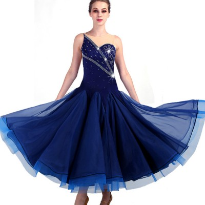 women girls Ballroom dancing dresses navy with flesh fabric children stage performance waltz tango dancing skirt dresses costumes