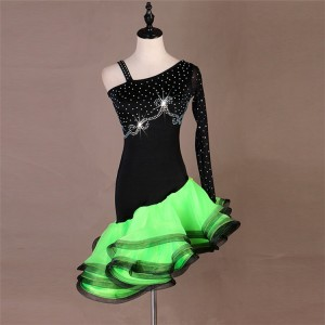 Women girls competition green pink latin dance dress female rumba samba chacha salsa dance dress ruffles skirts costumes