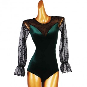 Women girls dark green velvet latin ballroom bodysuits top with polka dot mesh long sleeves tango waltz dance jumpsuits