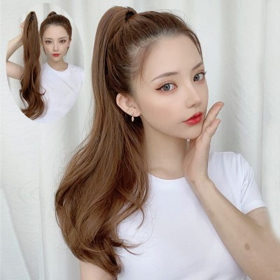 Women girls ponytail wig clip-on medium-length curly hair with big waves Fluffy natural wavy ponytail wig hair extension for women