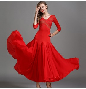 Women girls red black lace ballroom dancing dresses waltz tango stage performance flamenco dresses
