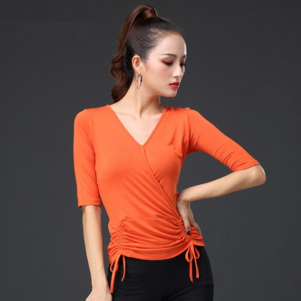 Details about  /Lady Tops 3//4 Sleeve Ballroom Dance Tango Latin Shirts Blouse Slim 3colors wx00