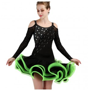 Women latin dress girls black with green diamond ruffles skirts competition stage performance professional rumba chacha dancing dress