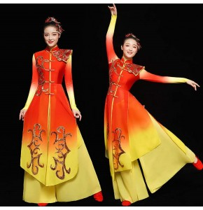 Women' red with god chinese folk dance costumes traditional drummer classical dance dresses