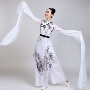 Women's ancient traditional classical Chinese folk dance costumes white colored waterfall sleeves drama anime cosplay fairy yangko fan dancing dresses