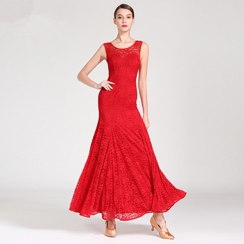 Flamenco Dance Costume Long Skirt Ballroom Tango Waltz Party Dress Performance