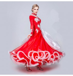 Women's ballroom dancing dresses female waltz tango rhinestones crystal professional competition long dresses skirts