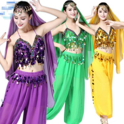 Women's belly dance costumes stage performance red yellow green violet  cosplay professional sexy Indian queen dancing tops and bloom pants