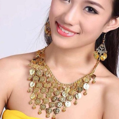Women's belly dance queen oriental dancing coins earrings necklace