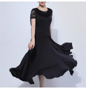 Women's black ballroom dancing dresses wine colored stage performance waltz tango dance dresses