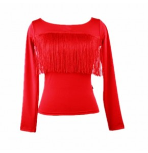 Women's  black red girls latin dance fringes tops shirts stage performance training pratice salsa rumba chacha dance tops