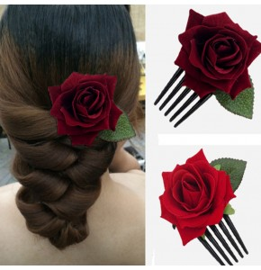 Women's bride wedding party rose comb  headdress stage performance rose comb flowers stage performance hairpin
