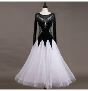 Women's children ballroom dancing dresses for girls violet with black and white competition stage performance waltz tango school dancing dresses