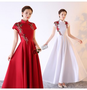 Women's china style Chorus performance dress white red color singers female wedding party host group modern dance evening dresses