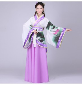Women's chinese ancient dance fairy cosplay dresses violet lotus tang dynasty hanfu photo sudio dance school stage performance robes costumes