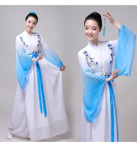 Women's chinese ancient film cosplay hanfu fairy princess dresses umbrella fan dance stage performance dresses