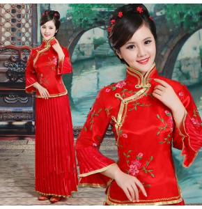 Women's Chinese ancient folk dance dresses princesses fairy drama photography cosplay dresses zheng piano performance costumes