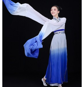 Women's chinese ancient traditional classical dance costumes blue gradient fairy yangko umbrella dance costumes