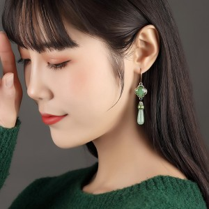 Women's chinese ancient traditional dance green earrings ancient princess fairy anime drama cosplay earrings