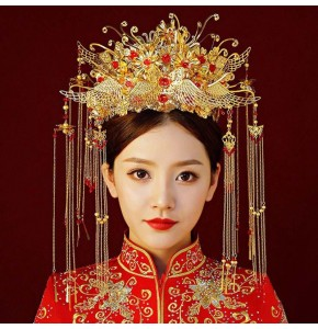 Women's Chinese ancient traditional drama empress cosplay phoenix headdress brides wedding headdress and earrings