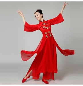 Women's Chinese ancient traditional folk dance dress red colored stage performance yangko fan classical team group dancers competition costumes