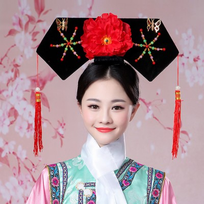 Women's chinese ancient traditional Qing dynasty hair pins  hat qing manchu empress princess hat headdress