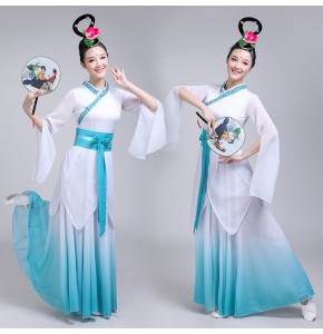 Women's chinese folk ancient traditional classical dance dresses pink blue gradient colored fairy drama cosplay photos dresses costumes