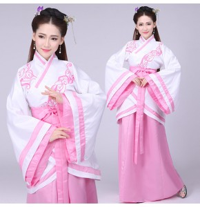 Women's chinese folk classical dance dresses pink colored fairy princess drama stage performance cosplay costumes Japanese kimono