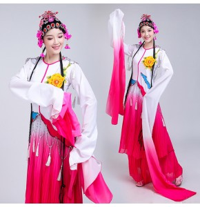 Women's Chinese folk dance costumes ancient opera water fall sleeves pecking drama traditional dance stage performance costumes
