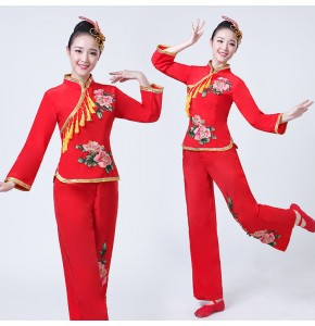 Women's Chinese folk dance costumes ancient traditional ancient traditional yangko drummer square dance dresses