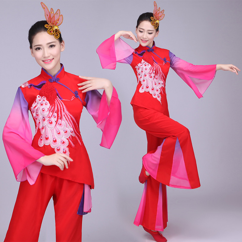 Women's chinese folk dance costumes ancient traditional chinese dresses yangko umbrella square dance dress costumes