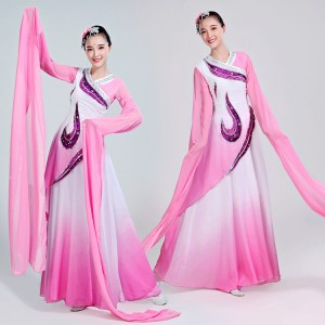 Women's chinese folk dance costumes ancient traditional classical ancient pink colored water sleeves yangko fan umbrella dance dresses