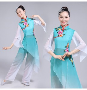 Women's chinese folk dance costumes ancient traditional classical stage performance fairy yangko fan umbrella dance dresses