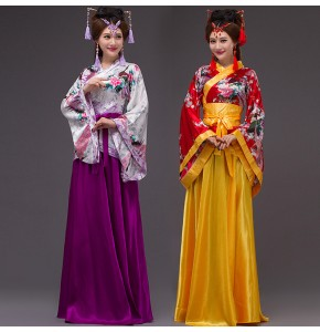 Women's chinese folk dance costumes ancient traditional hanfu tang dynasty princess stage performance party cosplay kimono robes dancewear