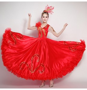 Women's Chinese folk dance costumes ancient traditional spanish flamenco stage performance party cosplay dancing dresses