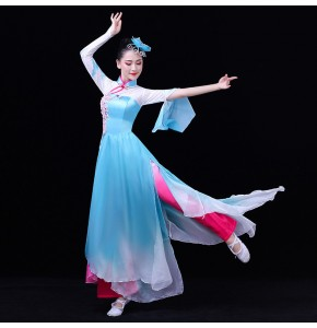 Women's chinese folk dance costumes blue color fairy dress ancient traditional fan umbrella yangko dance dresses